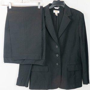 Women's Talbots 2 Piece Black Pant Suit Size 14